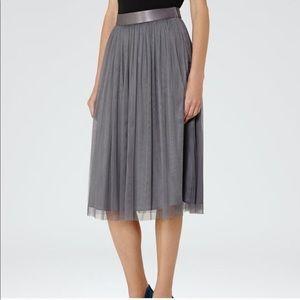 Reiss Grey Tulle Midi Skirt